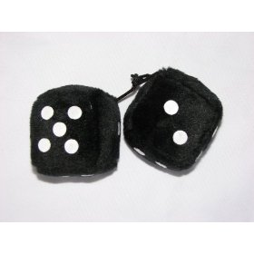 "Show details of 3"" Fuzzy Dice for Rear View Mirror Black with White Dots."