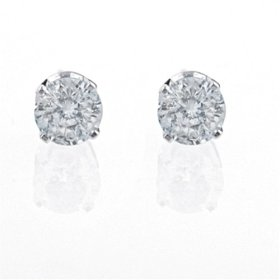 Show details of 14k White Gold, Round, Diamond Stud Earrings (1/2 cttw, J-K Color, I2-I3 Clarity).
