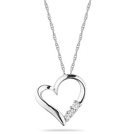 "Show details of 10k White Gold Diamond 3-Stone Heart Pendant (1/10 cttw, I-J Color, I2-I3 Clarity), 18""."
