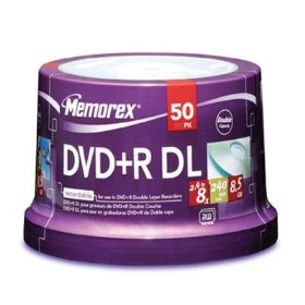 Show details of Memorex 8.5GB 8X Double Layer DVD+R (50pk Spindle).