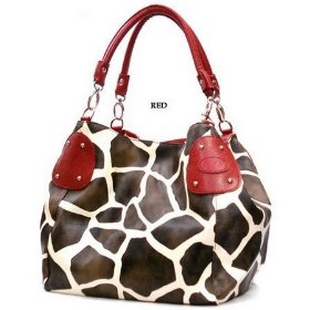 Show details of Red Large Vicky Giraffe Print Faux Leather Satchel Bag Handbag Purse.