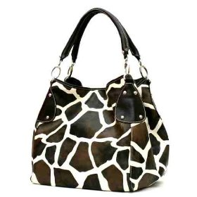 Show details of Brown Giraffe Designer Inspired Animal Print Handbag Purse Bag.