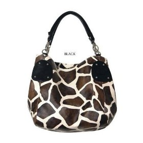 Show details of Black Large Giraffe Print Faux Leather Satchel Bag Handbag.