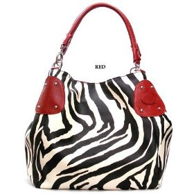 Show details of Red Large Zebra Print Faux Leather Satchel Bag Handbag.