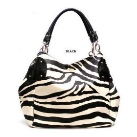 Show details of Black Large Zebra Print Faux Leather Satchel Bag Handbag.