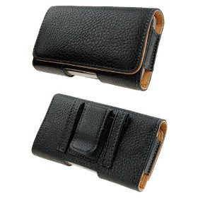 Show details of PCMICROSTORE Apple iPhone Black Leather Texture Horizontal Holster Carrying Case With Belt Loop And Clip.