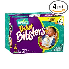 Show details of Pampers Pocket Bibsters, Sesame Street, Large, 32-Count Box (Pack of 4) (128 Disposable Bibs).