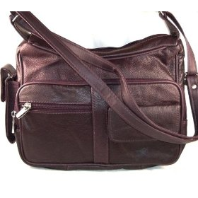 Show details of Genuine Leather Handbag with Cell Phone Holder & Many Pockets.