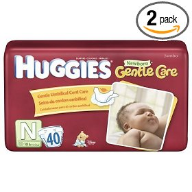 Show details of Huggies Newborn Diapers Starter Set (Up to 10 Pounds), 40-Count Packages (Pack of 2) (80 Diapers).