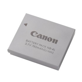 Show details of Canon NB-4L Battery Pack for the SD400, SD630, SD600, SD750, SD1000 & TX1 Digital Cameras.