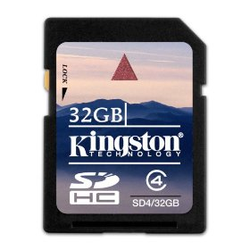 Show details of Kingston 32 GB SDHC Class 4 Flash Memory Card SD4/32GB.