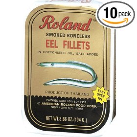 Show details of Roland Smoked Eel Fillets, Boneless, 3.66-Ounce Cans (Pack of 10).