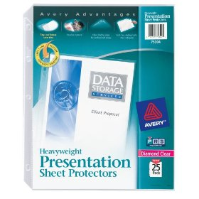 Show details of Avery Diamond Clear Heavyweight Sheet Protectors, Acid Free, Pack of 25 (75304).