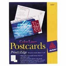 Show details of Avery 5889 Color Laser Postcards, 4 x6, White, 2 Cards per Sheet, 80/pack.