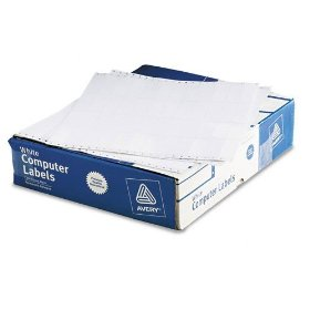 Show details of Avery 4021 Dot matrix printer white addressing labels, 3 x 15/16, 4 across, 20000/box.