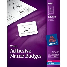 Show details of Avery Adhesive Name Badges, 2.33 x 3.375 inches, White, Pack of 160 (08395).