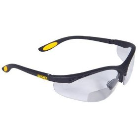 Show details of Dewalt DPG59-115C Reinforcer Rx-Bifocal 1.5 Clear Lens High Performance Protective Safety Glasses with Rubber Temples and Protective Eyeglass Sleeve.