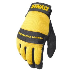 Show details of Dewalt DPG20M All Purpose Synthetic Leather Palm Spandex Back Velcro Wrist Work Glove, Medium.