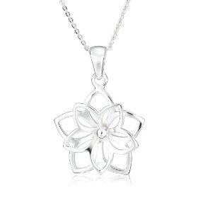 "Show details of Sterling Silver Girl's Double Flower Pendant, 13-15""."