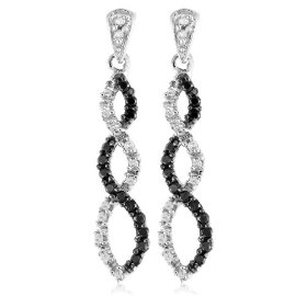 Show details of 10k White Gold Black Diamond Infinity Earrings (1/4 cttw).