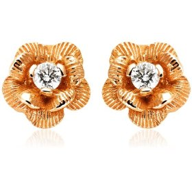 Show details of 14k Rose Gold Diamond Flower Earrings (.12 cttw, J Color, I2 Clarity).