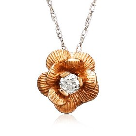 "Show details of 14k Rose Gold Diamond Flower Pendant (.06 cttw, J Color, I2 Clarity), 18""."