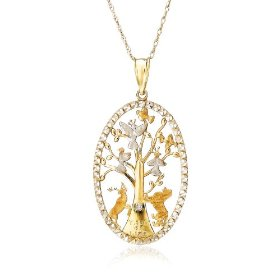 "Show details of 10k Two-Tone Gold Tree of Life Pendant (.005 cttw, J Color, I2 Clarity), 18"" w/ Diamond Accent."