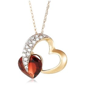 "Show details of 10k Yellow Gold Diamond and Garnet Heart Shaped Pendant, 18""."