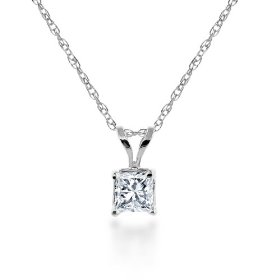 Show details of 14k White Gold, Princess-Cut, Diamond Classic 4-Prong Pendant (1/10 cttw, J-K Color, I2-I3 Clarity).