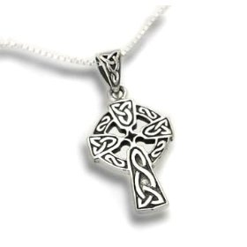 "Show details of Celtic Knot Sun Cross Sterling Silver Pendant with 18"" Necklace - Gift Boxed!."