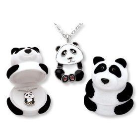 Show details of Panda Bear Crystal Necklace in Panda Gift Box!.