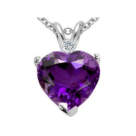 Show details of 1.92 cttw Genuine Amethyst and Diamond Heart Pendant - 14kt White or Yellow Gold.