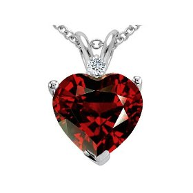 Show details of 2.02 cttw Genuine Garnet and Diamond Heart Pendant - 14kt White or Yellow Gold.