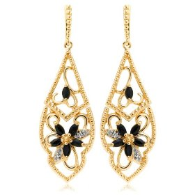 Show details of Yellow Gold Overlay Sterling Silver Sapphire & Diamond Accent Flower Dangle Earrings.
