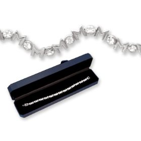 Show details of Crystal & Silver MOM Tennis Bracelet! Gift Boxed!.