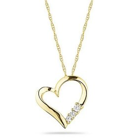 "Show details of 10k Yellow Gold Diamond 3-Stone Heart Pendant (1/10 cttw, I-J Color, I2-I3 Clarity), 18""."