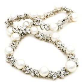 "Show details of Silver-Tone White Pearl and Crystal Necklace by Margot Townsend, 16""."