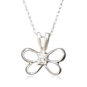 "Show details of 14k White Gold Diamond Butterfly Pendant (.015 cttw, J Color, I2 Clarity), 18""."