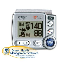 Show details of Omron HEM-670IT Wrist Blood Pressure Monitor with APS (Advanced Positioning Sensor) and Advanced Omron Health Management Software.