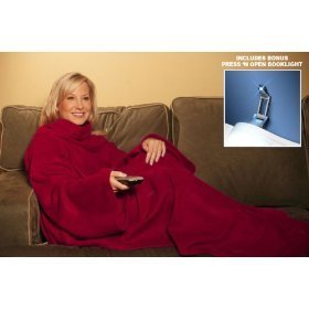"Show details of Snuggie Burgundy ""As Seen on TV"" with Press n' Open Booklight."